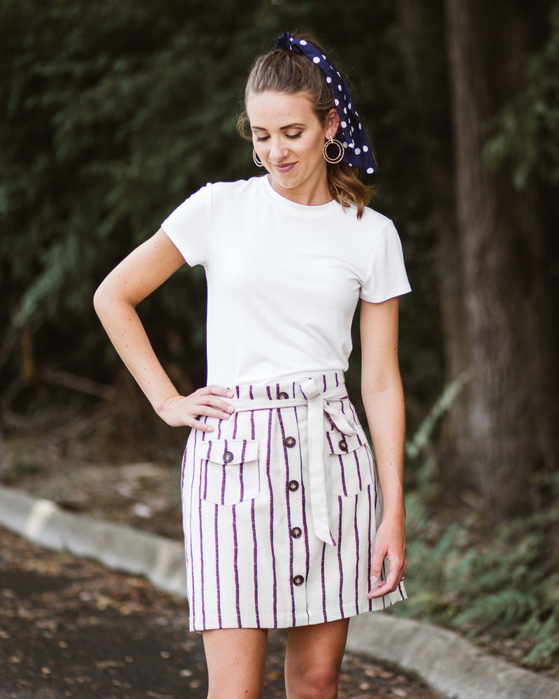 Marlee Pocketed Button Front Skirt