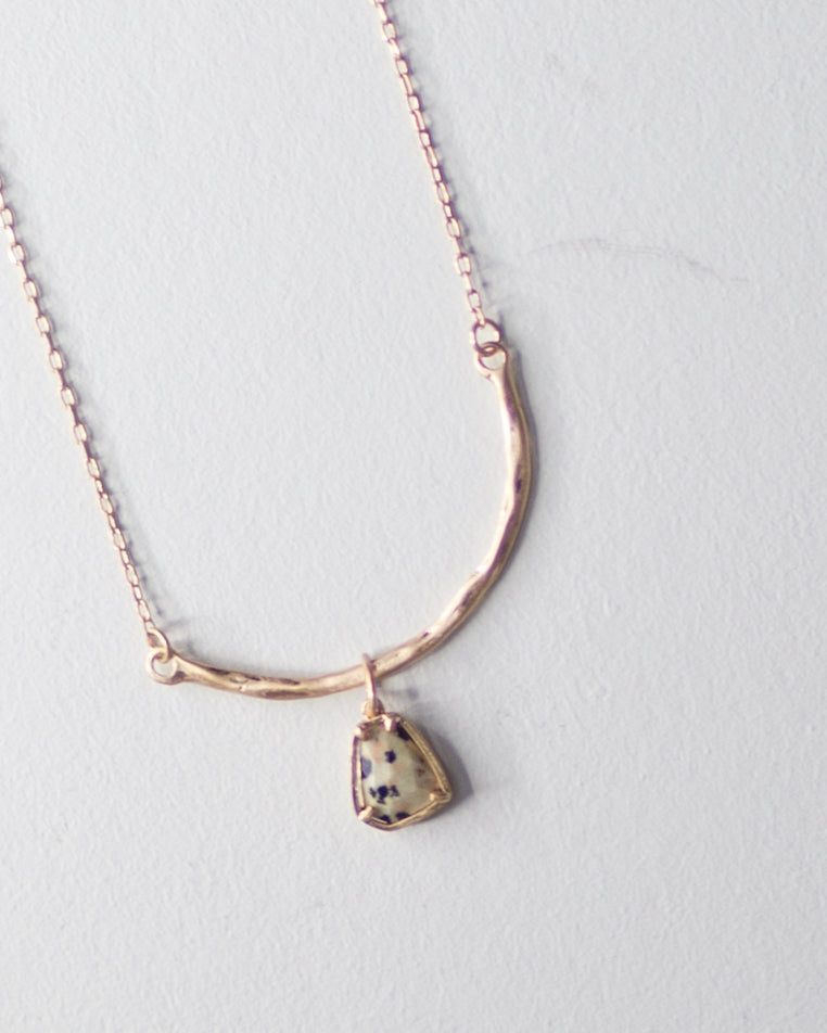 Curved Stone Necklace-Dalmatian