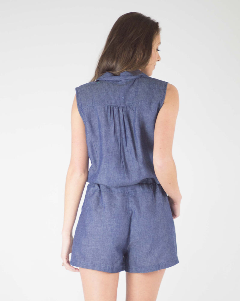 Peyton Chambray Sleeveless Romper