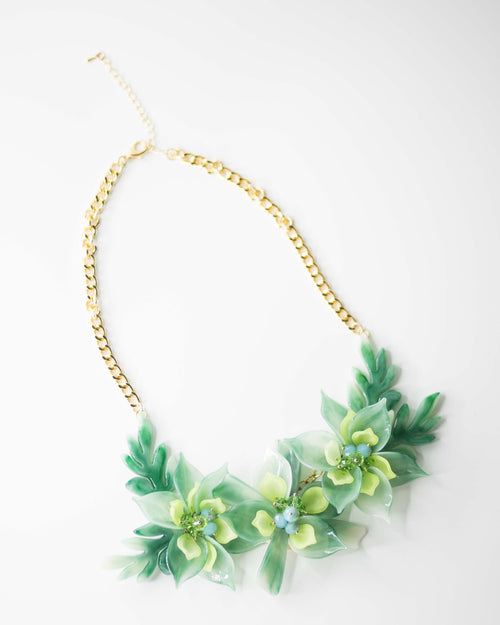Green Floral Statement Necklace