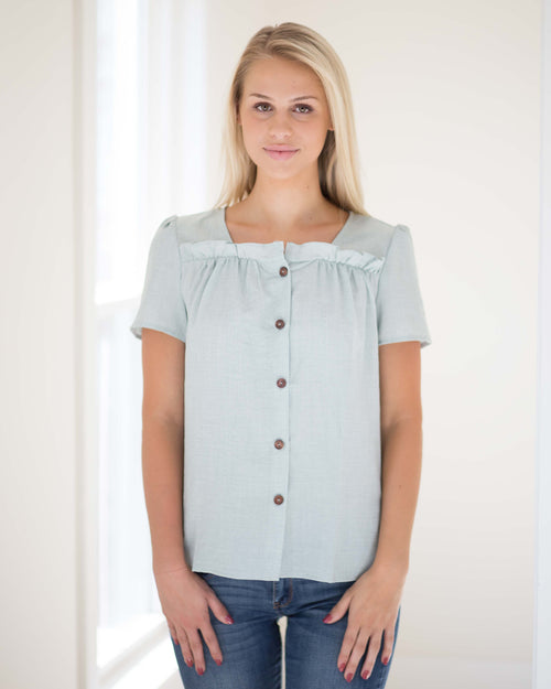 Adele Button Front Top | Rose & Remington