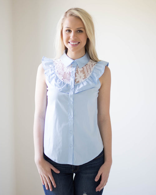Avery Lace Accent Sleeveless Top | Rose & Remington