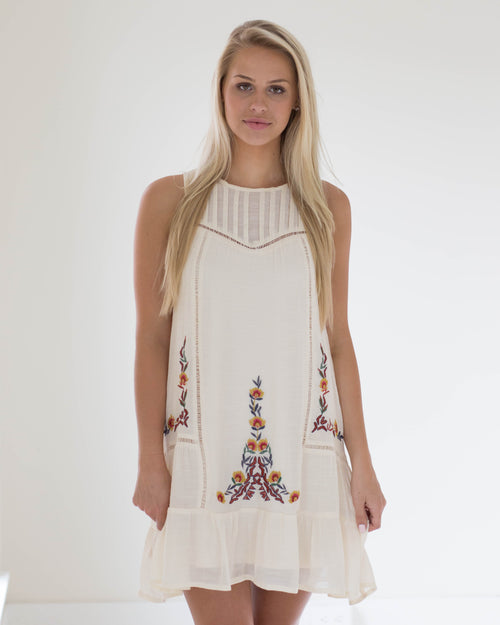 Anna Natural Embroidered Dress | Rose & Remington