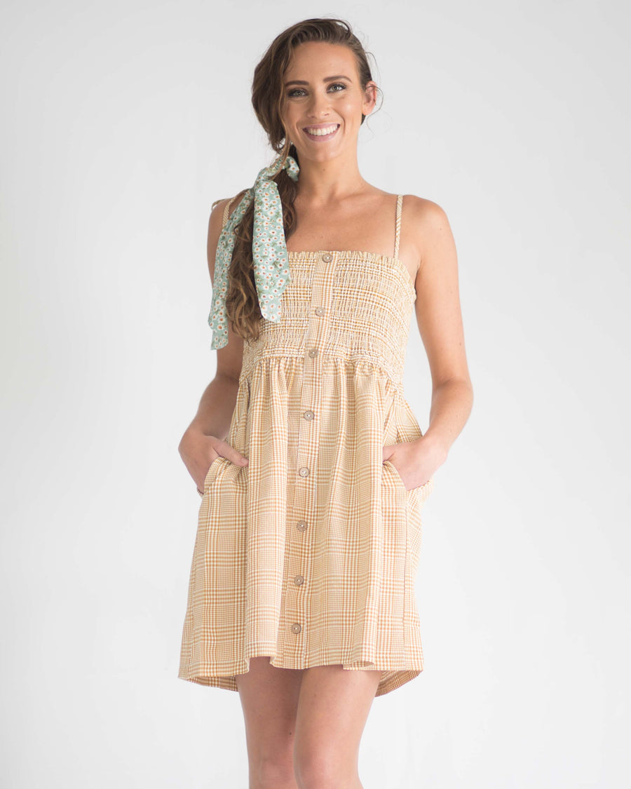 Gingham Ribbon Tie Dress
