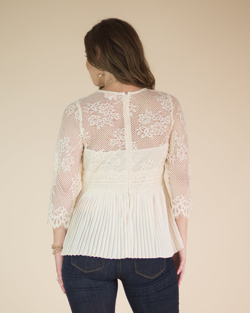 Victoria Pleated Lace Top