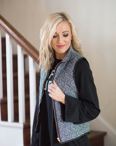 Quilted Print Vest