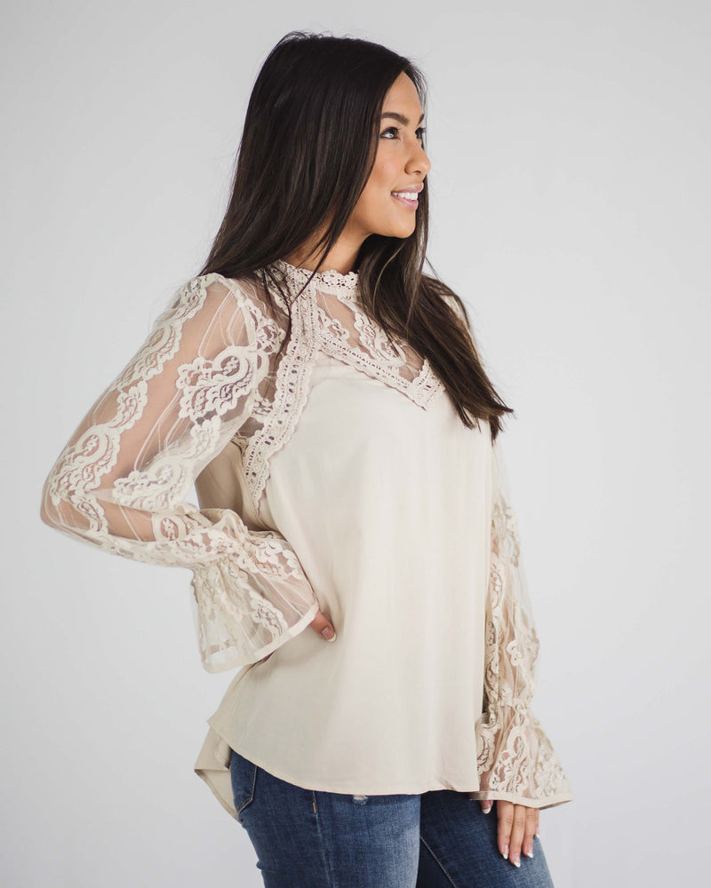 Luna Lace Detail Long Sleeve Top
