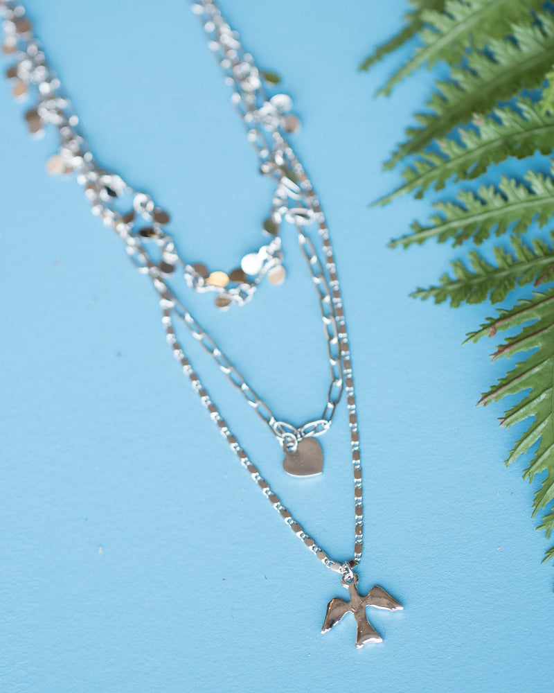 Layered Bird & Heart Charm Necklace