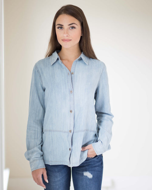 Tia Chambray Button Down Top