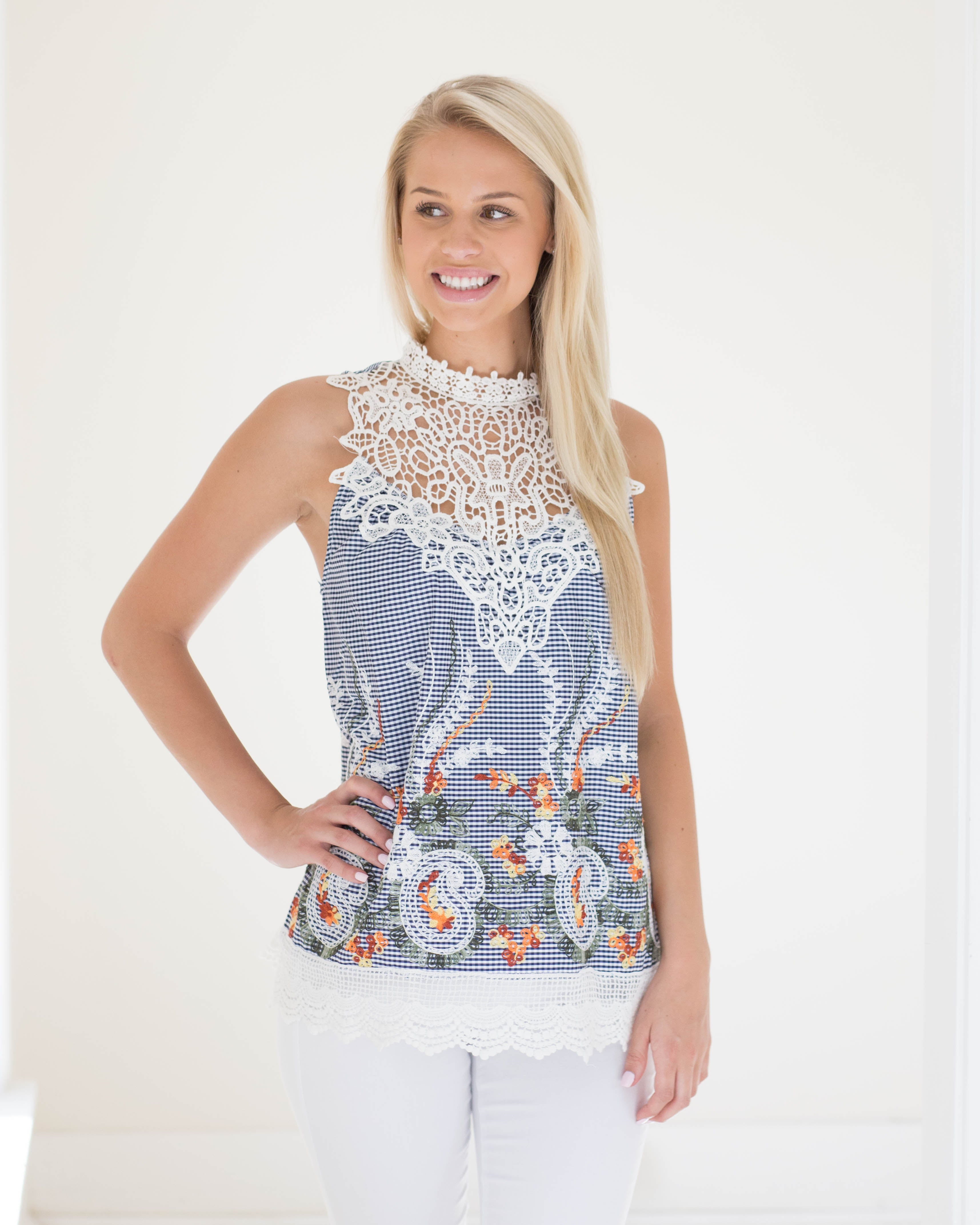 Iris Embroidered Gingham Top | Rose & Remington