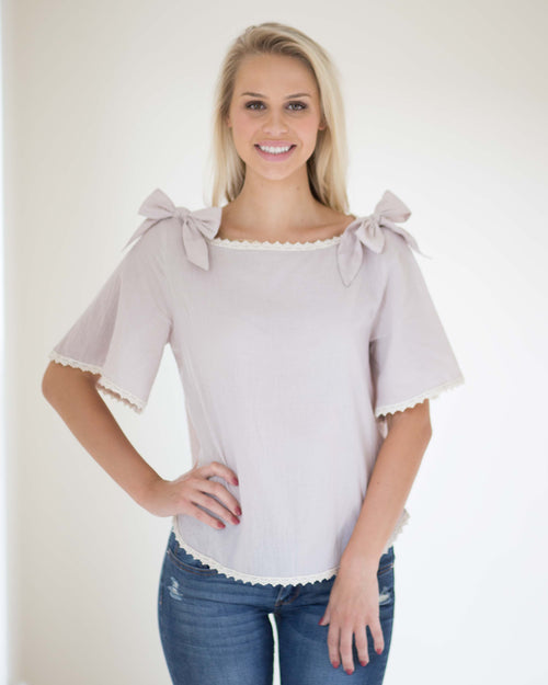 Emily Shoulder Tie Top | Rose & Remington