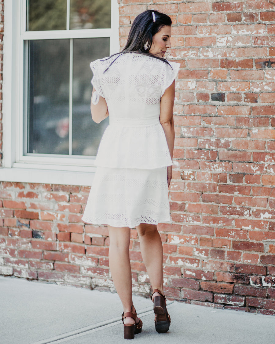 Mia Lace Tiered Belted Dress