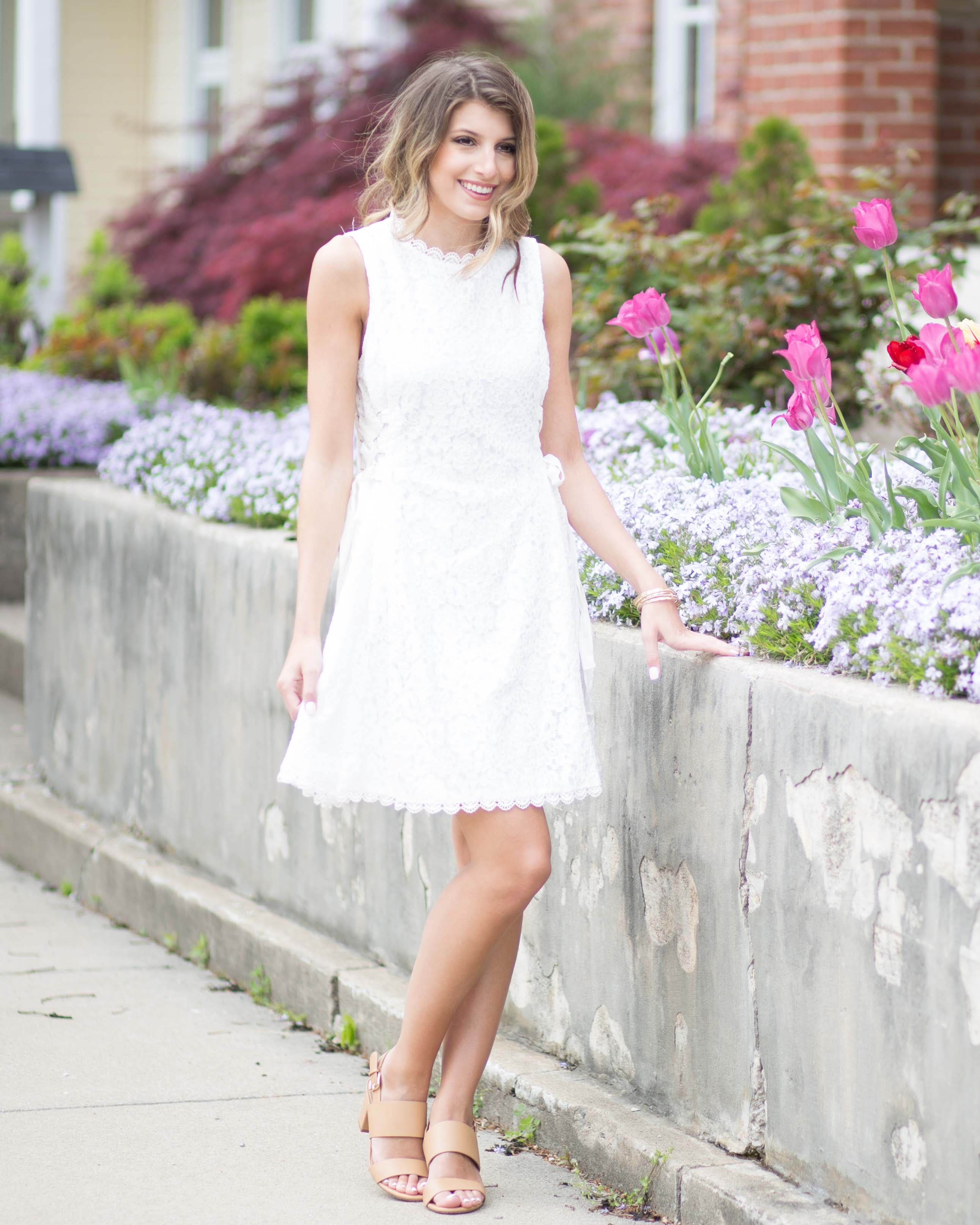Tinsley White Lace Up Dress