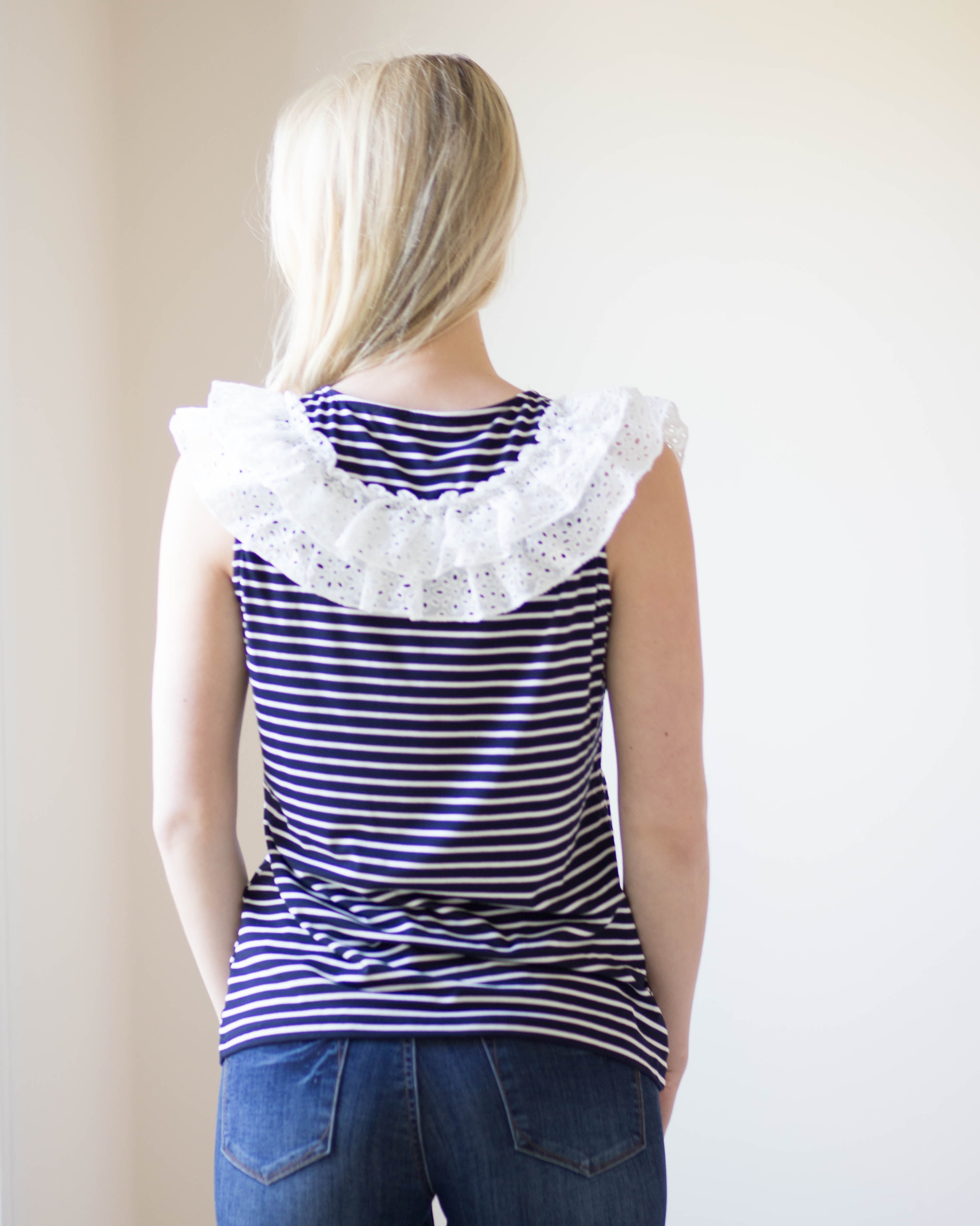 Bethany Striped Sleeveless Top | Rose & Remington