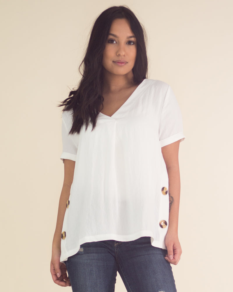 Valorie Side Button Tee