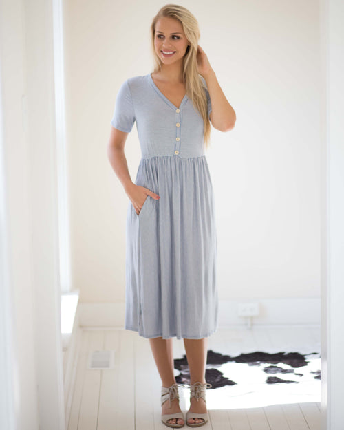 Sophia Button Front Midi Dress | Rose & Remington