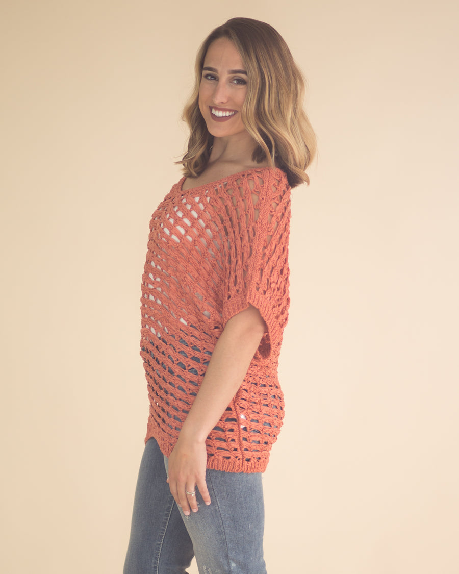 Open Knit Dolman Sleeve Top