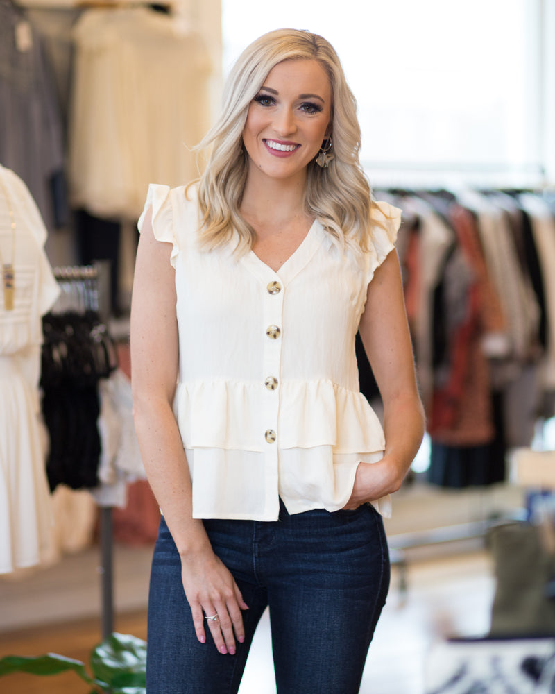 Annie Button Down Ruffle Top