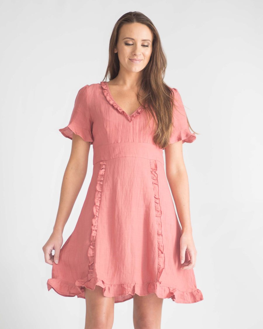 Ruffle Trim Short Sleeve Dress