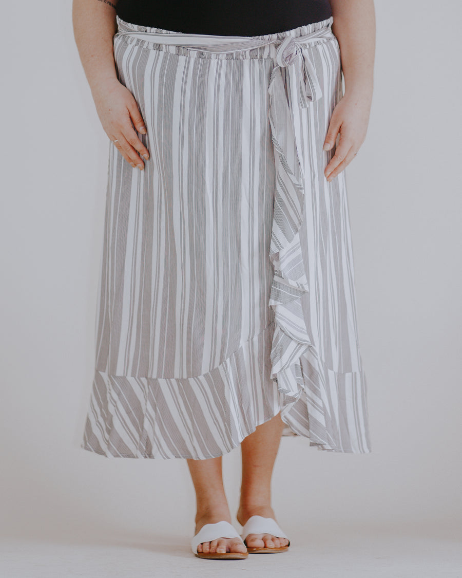 Tie Front Ruffle Wrap Skirt