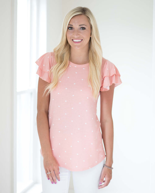 Polka Dot Ruffled Tee | Rose & Remington