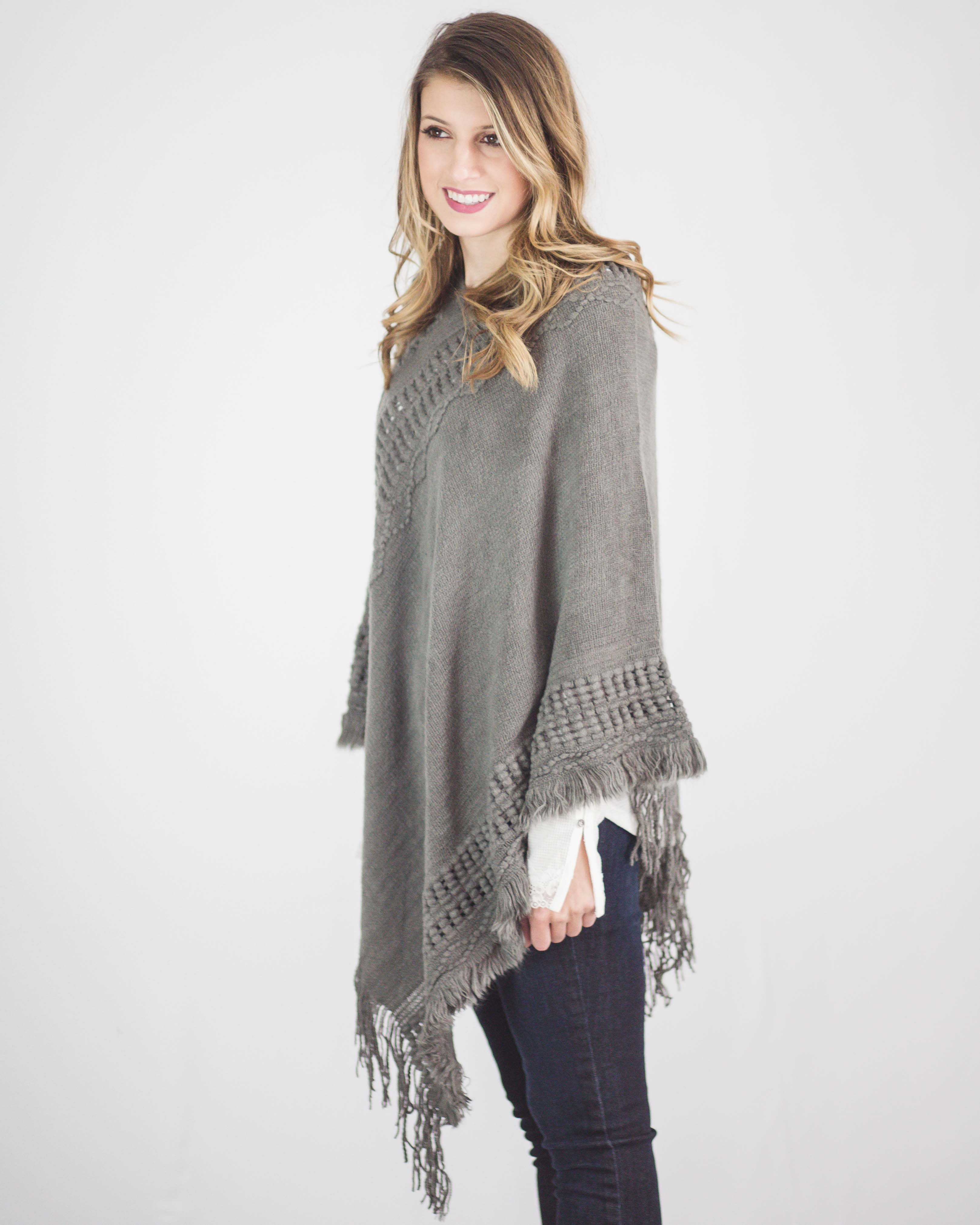 Asymmetrical Soft Knit Poncho-Gray