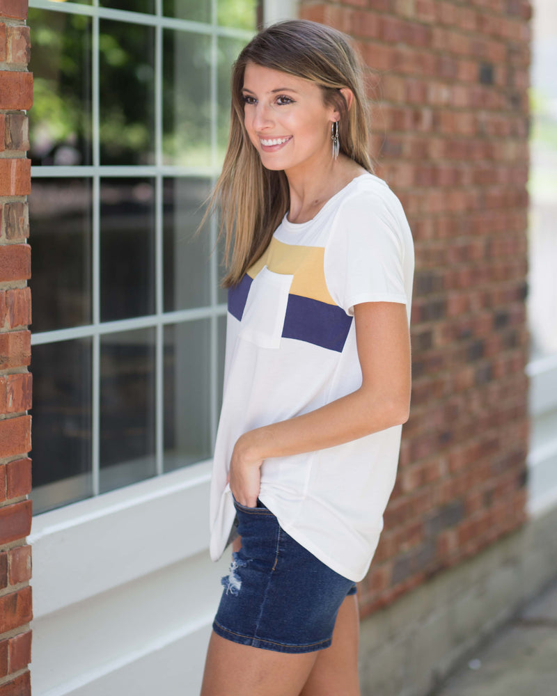 Pocketed Color Block Accent Top