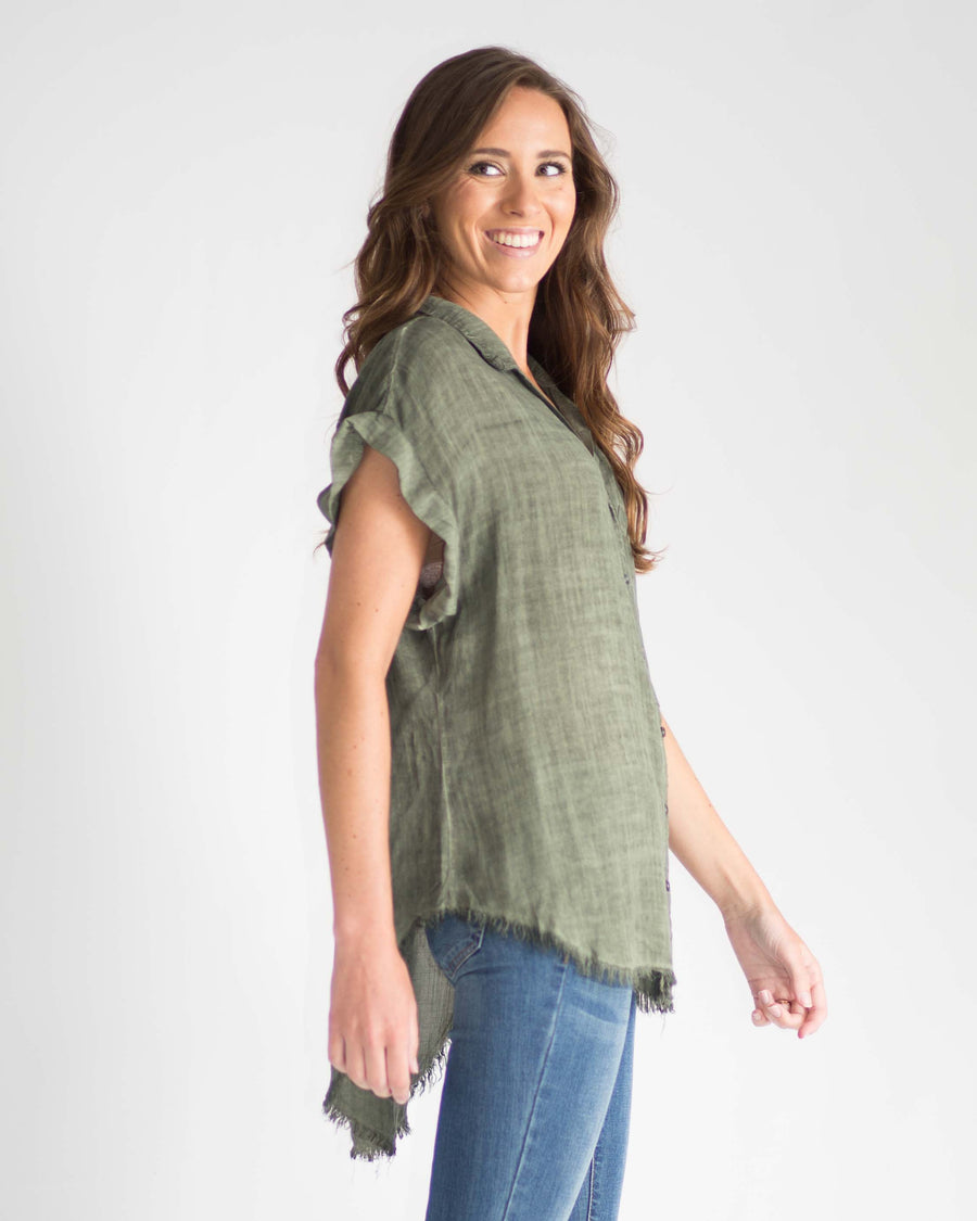 Quinn Washed Button Up Top
