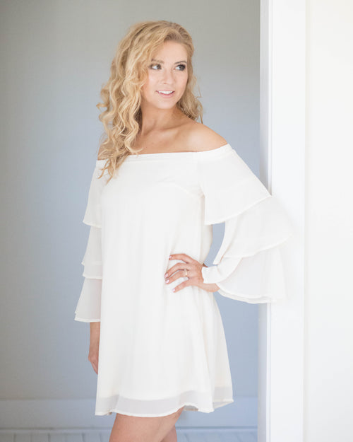 Cream Off-The-Shoulder Dress