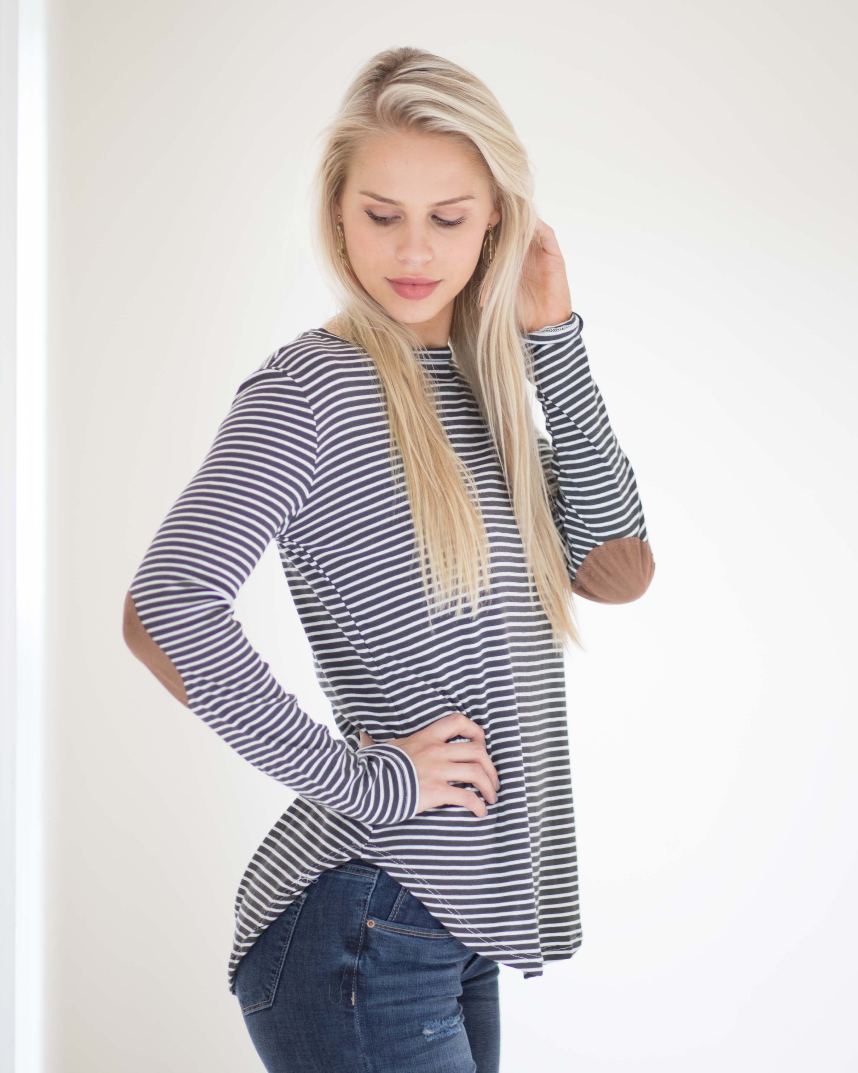 Addy Striped Elbow Patch Top | Rose & Remington