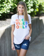 """Good Vibes Only"" Rainbow Graphic Tee"