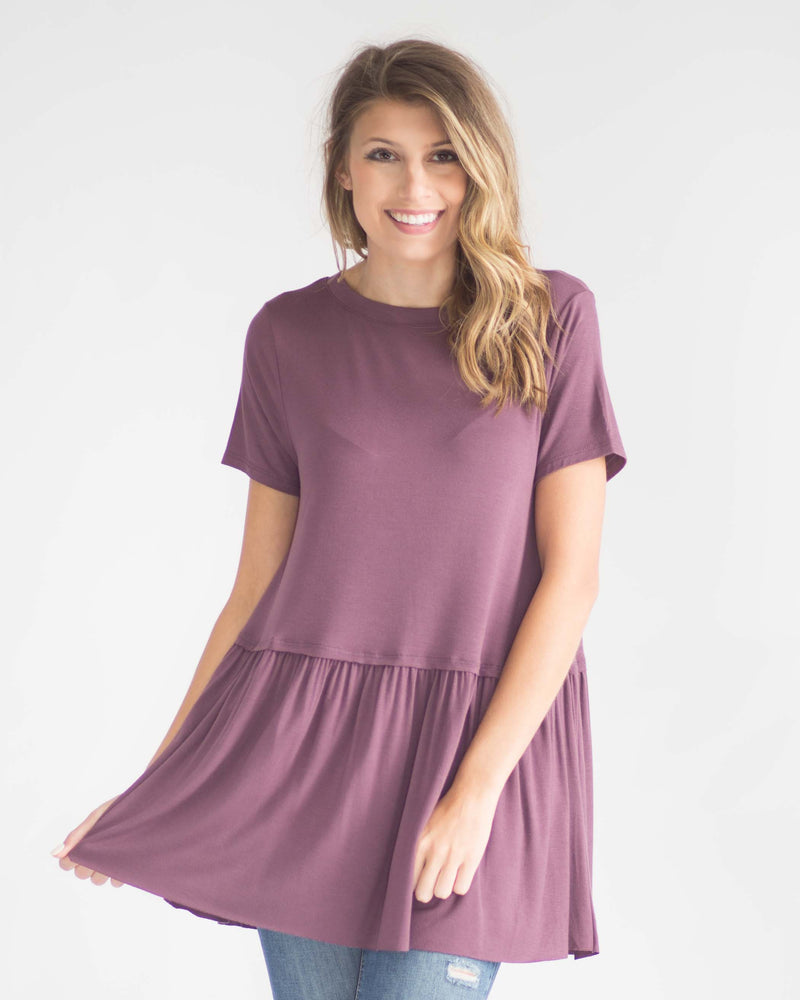 Crew Neck Ruffle Trim Tee