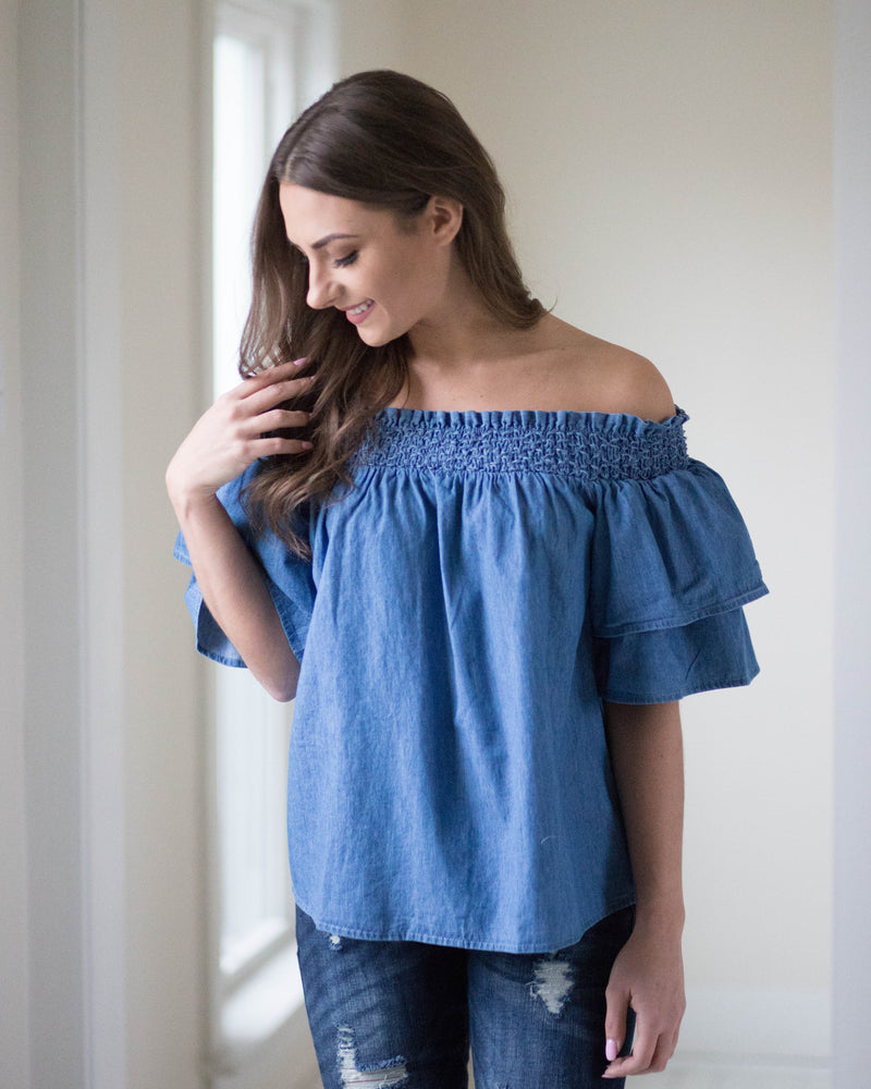 Chambray Open Shoulder Top | Rose & Remington