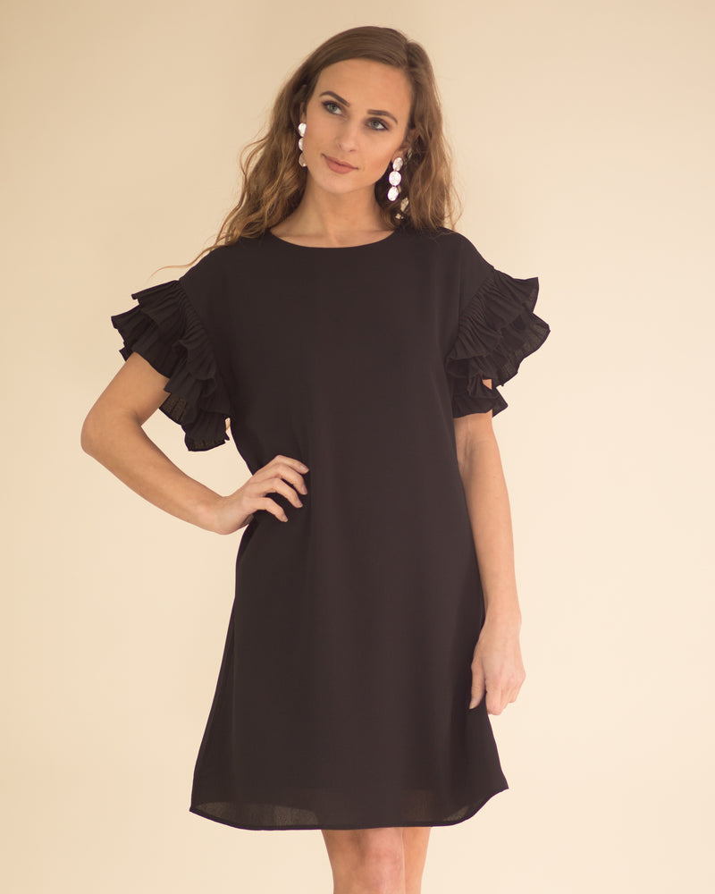 Tiered Ruffle Sleeve Dress