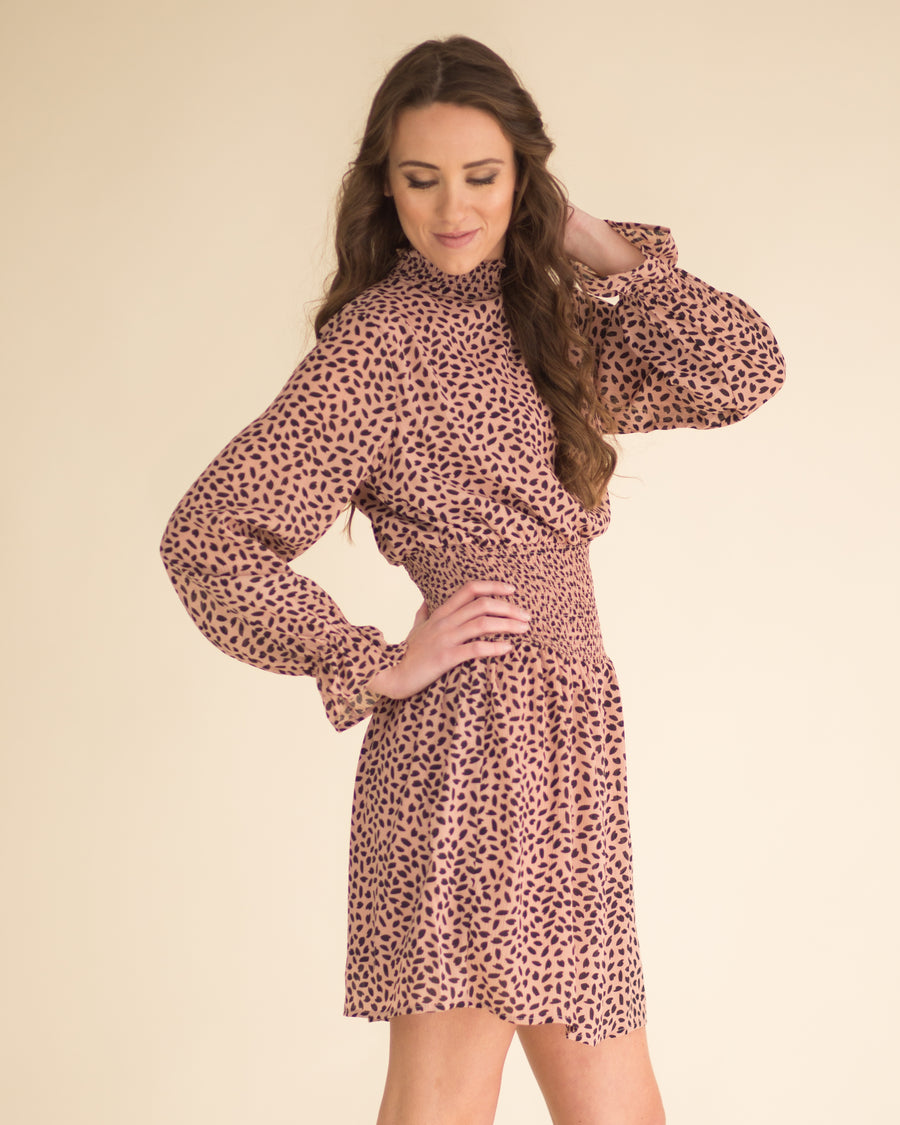 Cheetah Mock Neck Chiffon Dress