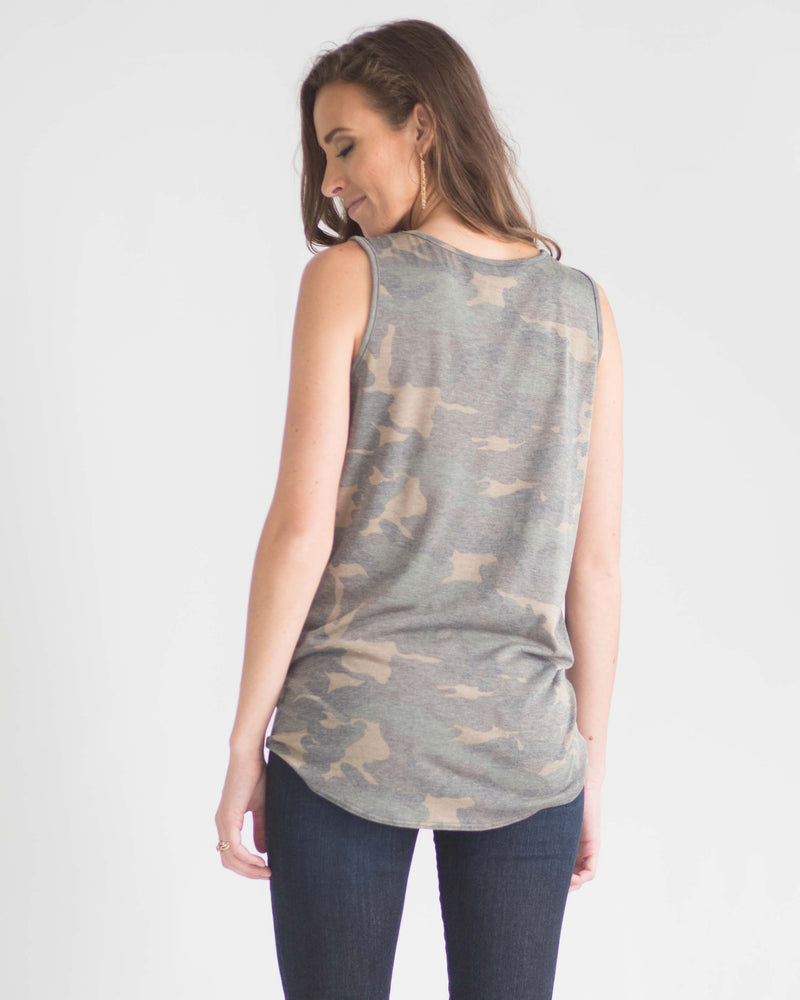 Sleeveless Camo Tie Front Top