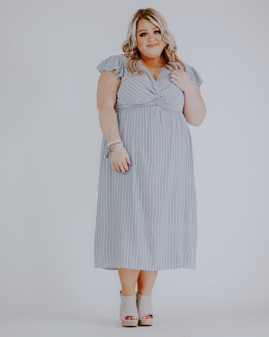 Twist Front Striped Midi Dress