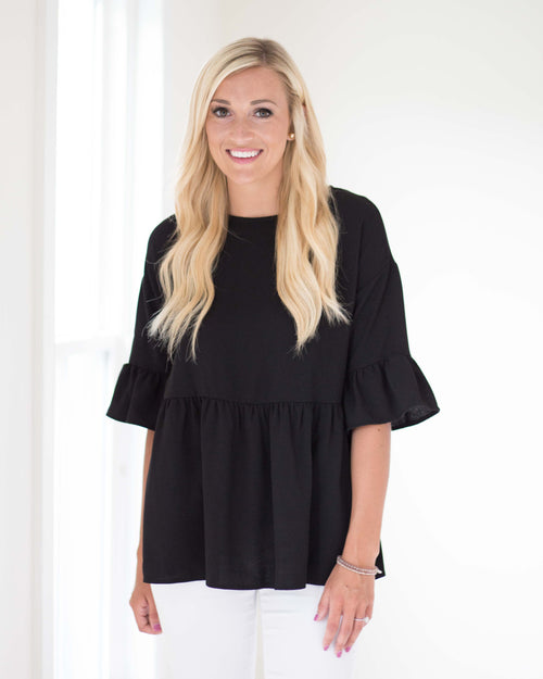 Annabelle Ruffle Sleeve Top | Rose & Remington