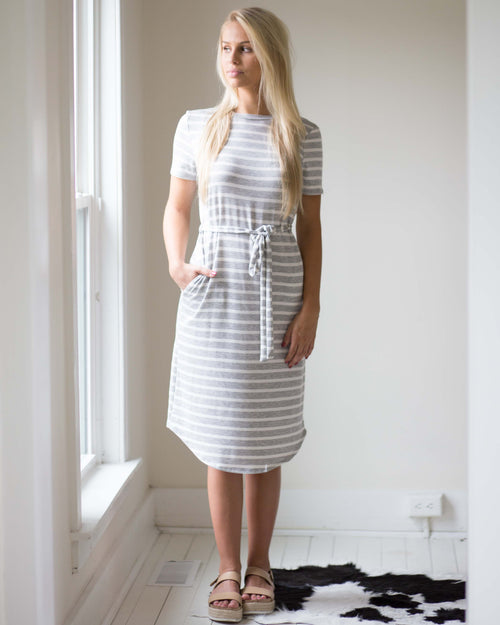 Lilly Striped Midi Dress | Rose & Remington