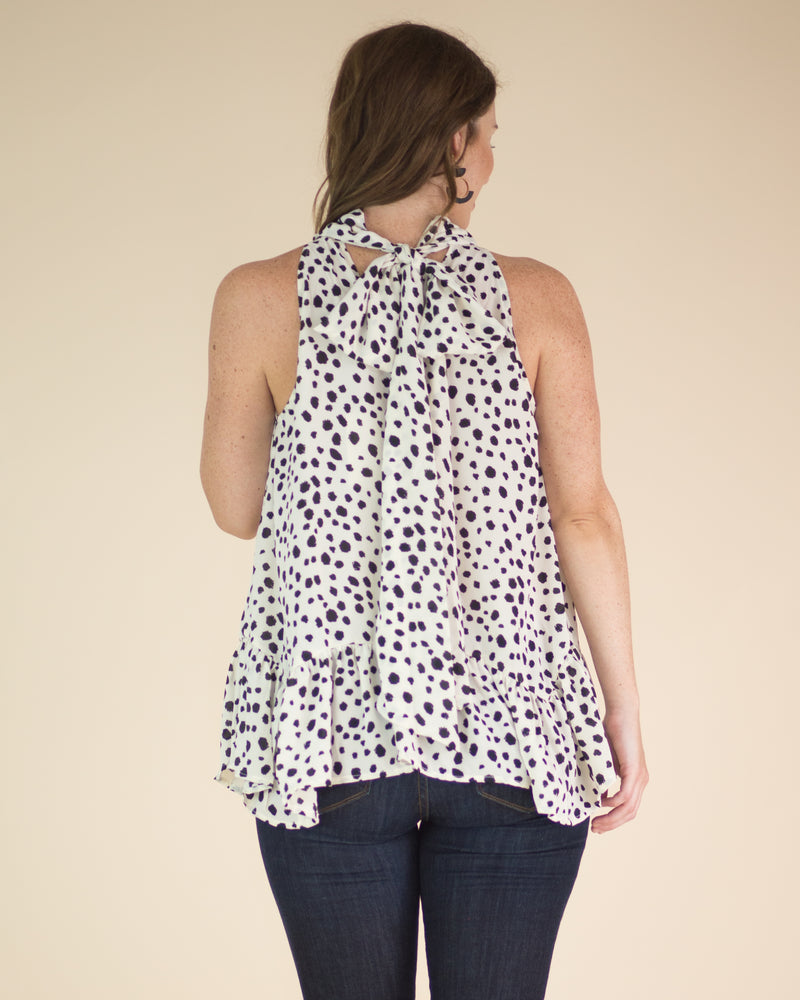 Spots & Dots Ruffle Trim Top