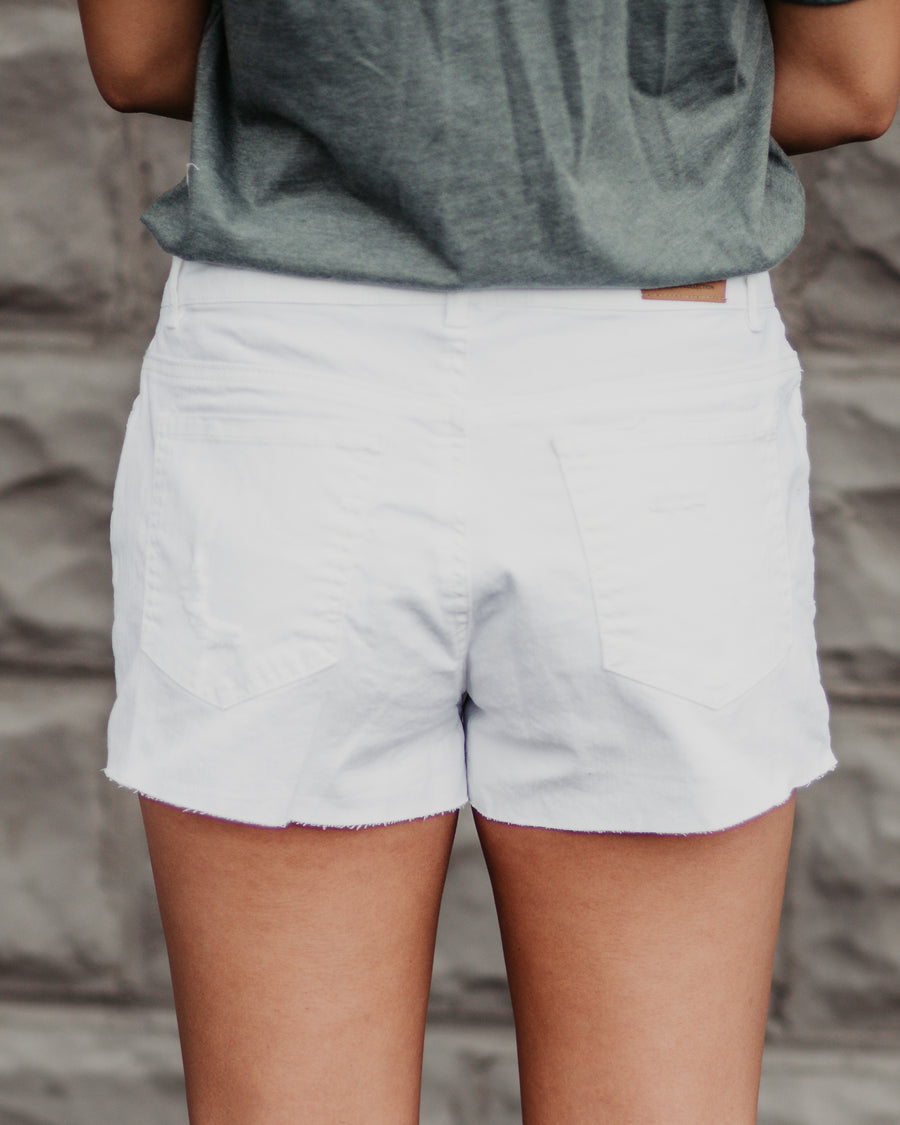 Fray Hem White Denim Shorts