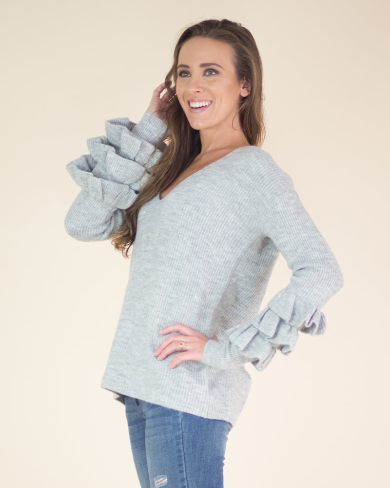 Tiered Ruffle Sleeve Sweater