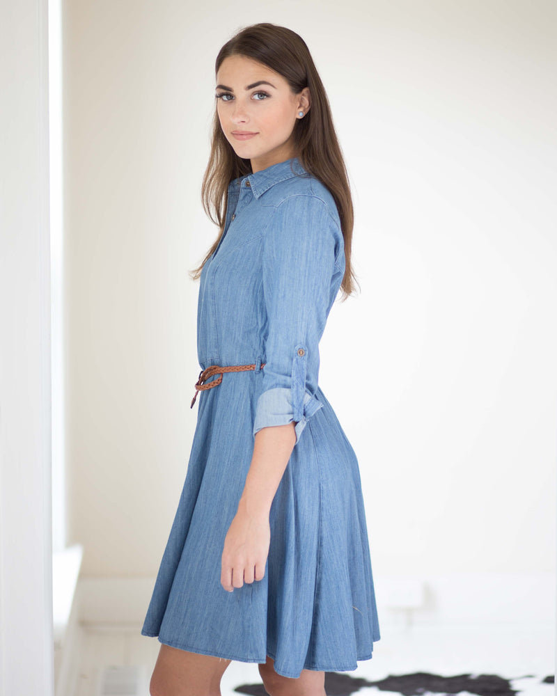 Aris Chambray Flare Dress | Rose & Remington