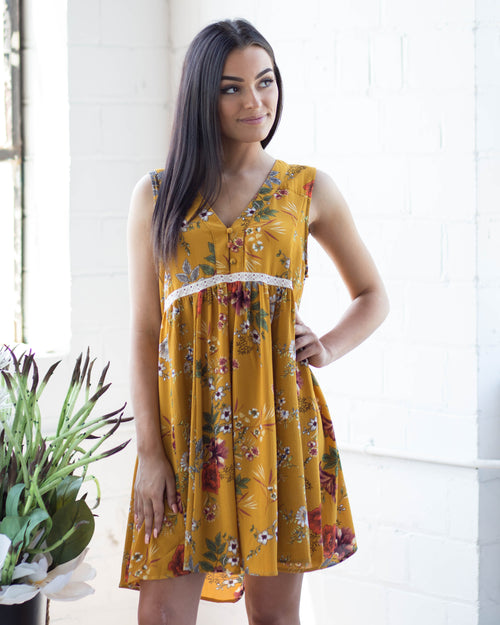 Sunset Floral Babydoll Dress | Rose & Remington