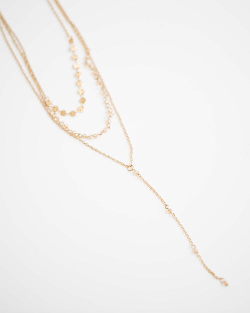 Tri-Layered Champagne Necklace