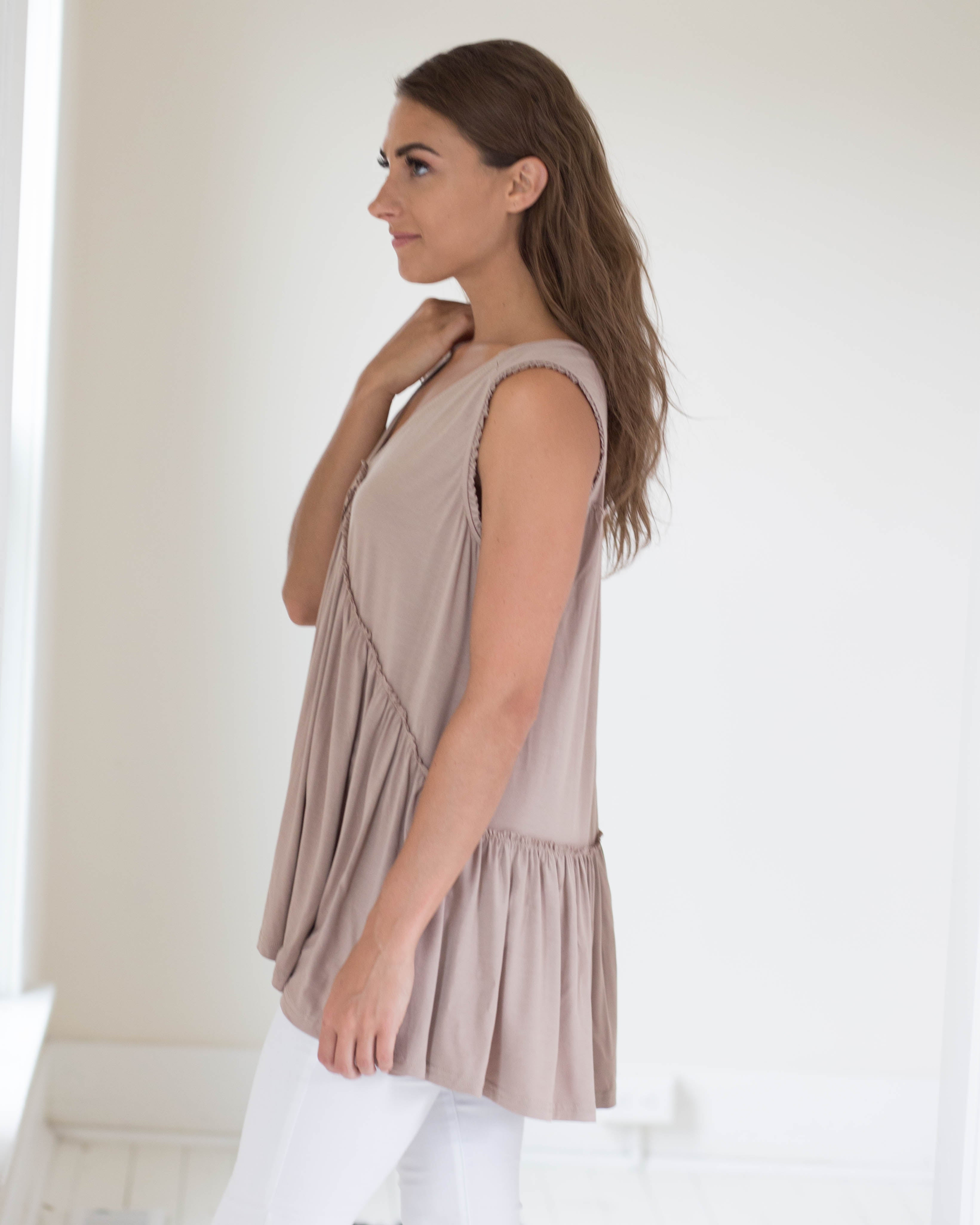 Latte Ruffle Detail Sleeveless Top | Rose & Remington