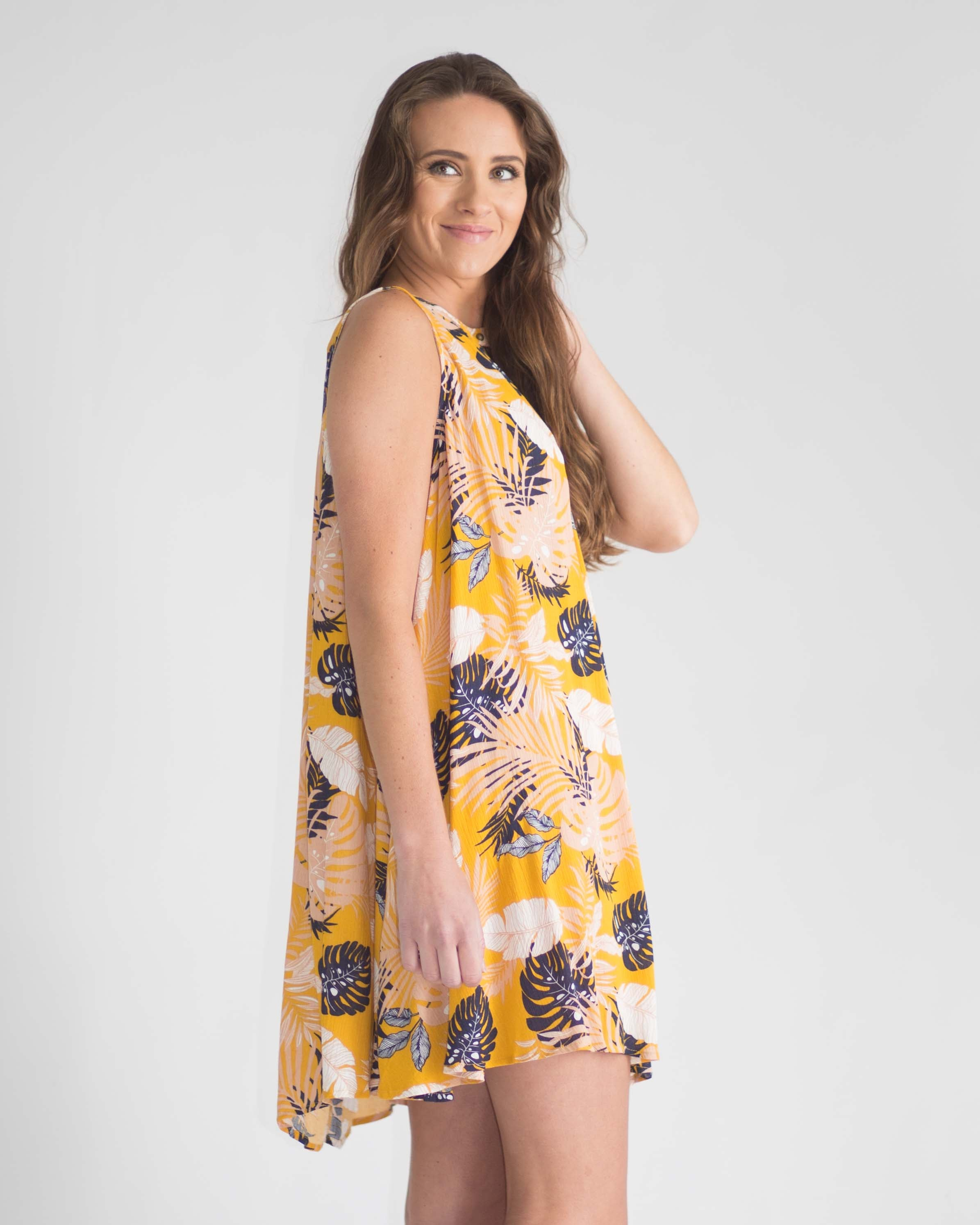 Tropical Sleeveless Keyhole Dress