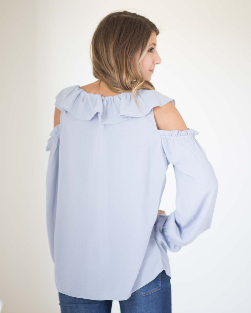 Elsa Cold Shoulder Ruffled Top | Rose & Remington