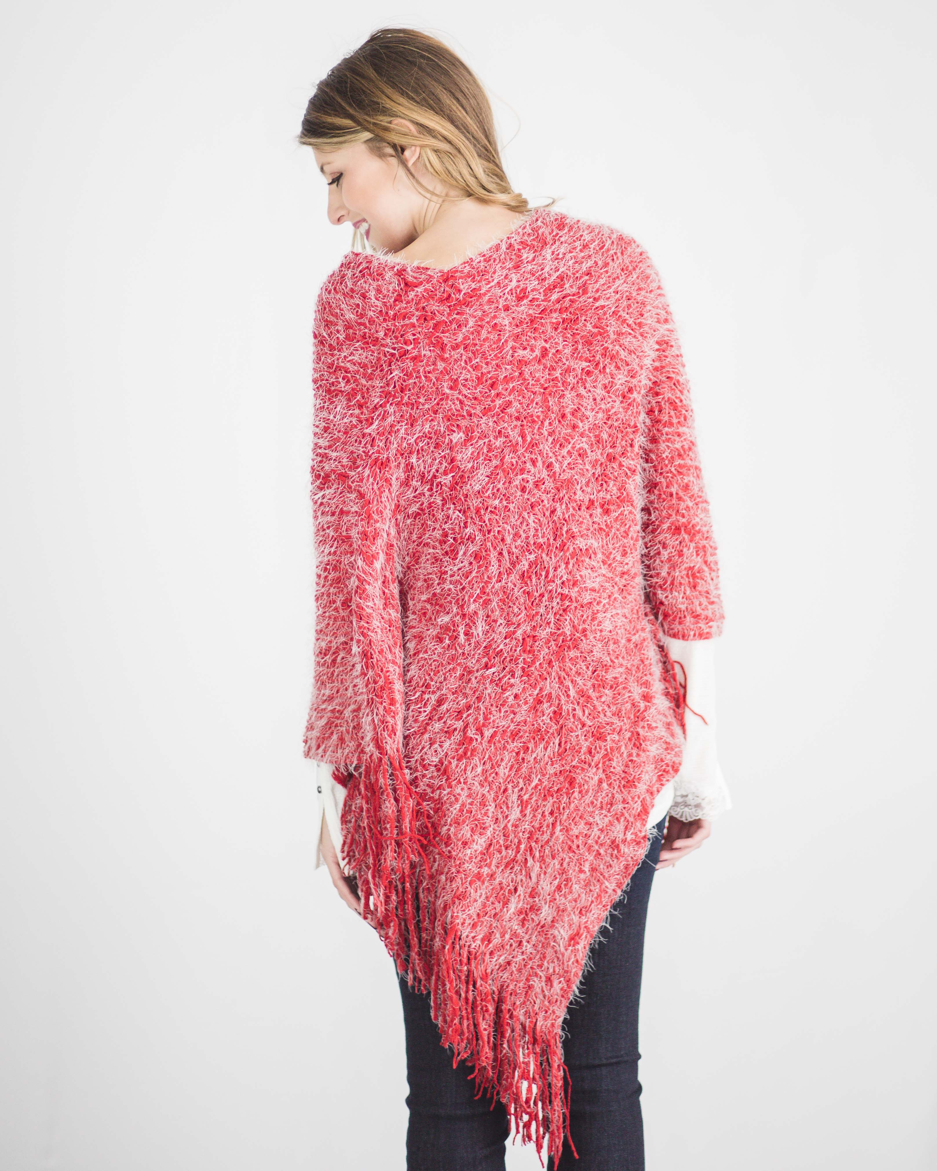 Everly Eyelash Fringe Poncho-Red