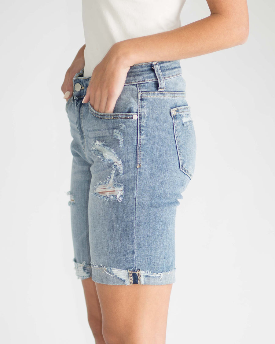 Mid-Rise Distressed Bermuda Short